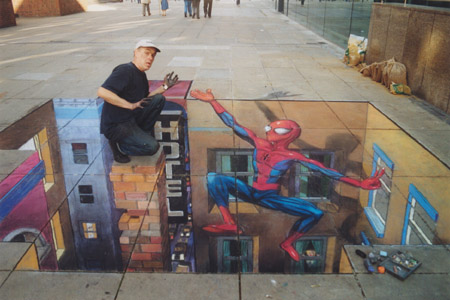 spiderman-sidewalk-art